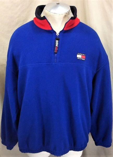 Vintage 90's Tommy Hilfiger Classic Logo (L/XL) Retro Pullover Blue Fleece Sweatshirt
