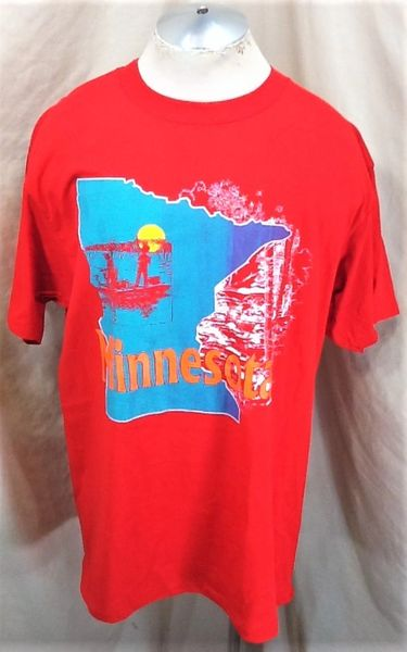 "Vintage 90's Minnesota Outdoors ""Fishing"" (XL) Retro Graphic Nature T-Shirt Red"