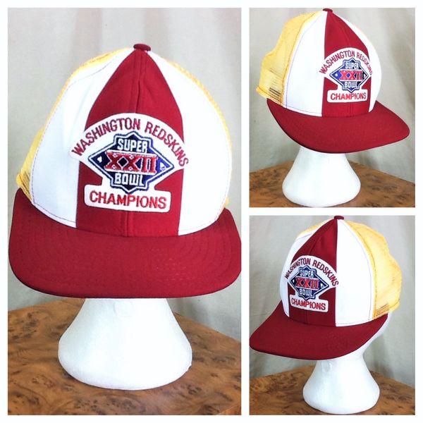 Vintage 1987 Washington Redskins Super Bowl XXII Champions Retro NFL Graphic Snap Back Trucker Hat