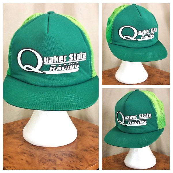Vintage 80's Quaker State Racing Retro Graphic Gear Heads Snap Back Trucker Hat