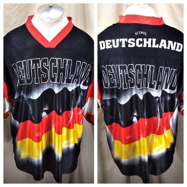 Vintage 90's Nutmeg Deutschland Soccer (XL) Retro Pullover Graphic Futbol Jersey Black