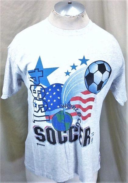 Vintage 1994 FIFA World Cup Soccer Championship (L/XL) Retro Graphic Futbol Gray T-Shirt