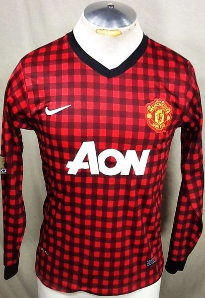 Nike Manchester United Premier League (Med) Retro Futbol Checkered Bootleg Soccer Jersey
