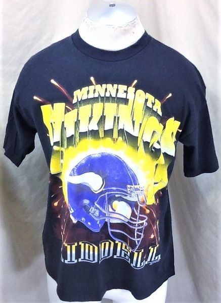 Vintage 1997 Riddell Minnesota Vikings Football (Med) Retro NFL Graphic Black T-Shirt