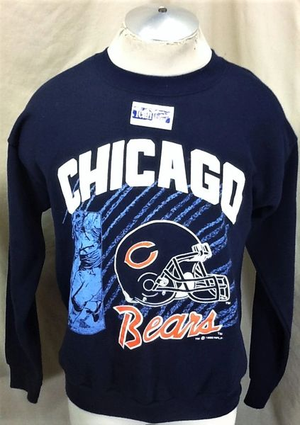 New! Vintage 1992 Chicago Bears Football Club (Large) Retro NFL Crew Neck Sweatshirt Blue