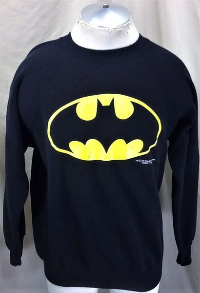 Vintage 1989 DC Comics Batman Classic Logo (Large) Retro Graphic Crew Neck Sweatshirt
