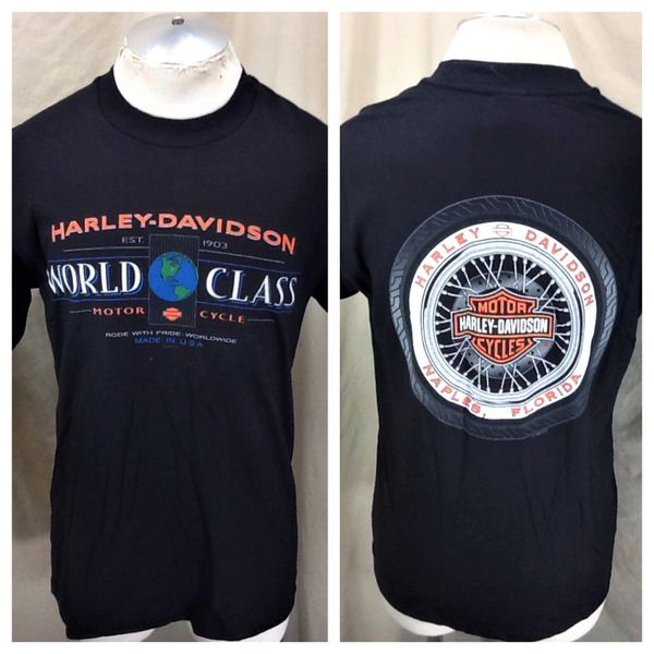 "Vintage 1997 Harley Davidson Motorcycles (Medium) ""World Class"" Retro Graphic Shirt"