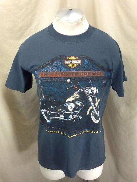 "Vintage 90's Harley Davidson Motorcycles (Medium) ""Heritage of Freedom"" T-Shirt"