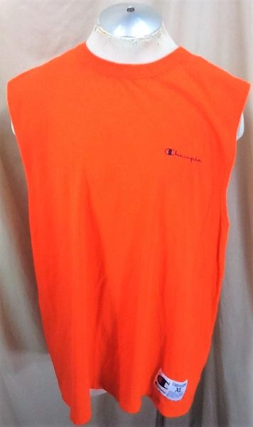 Vintage 90's Champion Athletic Wear (XL) Retro Pullover Tank Top Shirt Orange