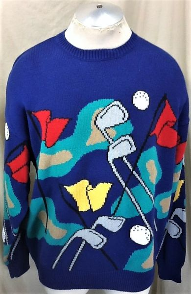 "Vintage 90's Golfing ""Tools of the Trade"" (XL) Retro All Over Graphic Acrylic Ugly Sweater"