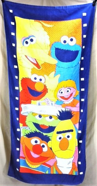 """Vintage 90's Sesame Street """"Cast of Characters"""" Retro Graphic Beach Towel Wall Art"""