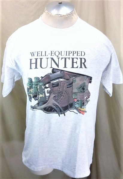 """Vintage 90's Outdoorsman """"Well Equipped Hunter"""" (Large) Retro Graphic Deer Hunting Shirt"""