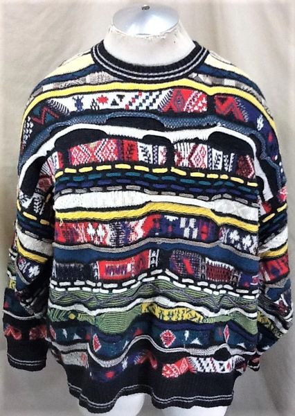 Vintage 90's Florence Tricot (XL) Retro Textured Cosby Style Multi-Color Sweater