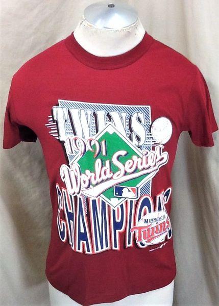 """Vintage 1991 Minnesota Twins Baseball Club (Med) Retro MLB """"World Series Champions"""" Graphic T-Shirt"""