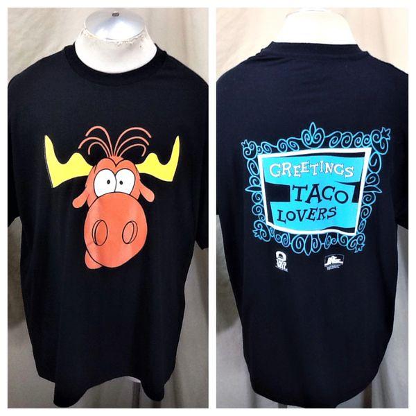 "Vintage 1993 Taco Bell ""Bullwinkle"" (2XL) Retro Graphic Cartoon Advertising T-Shirt"
