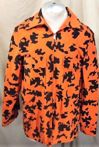 Vintage 80's Deerskin Hunting Camo (Medium) Retro Blaze Orange Zip Up Sweatshirt