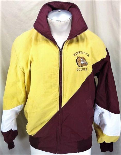 Vintage 80's Minnesota Duluth Bulldogs (Med) Retro NCAA Zip Up Light Weight Jacket