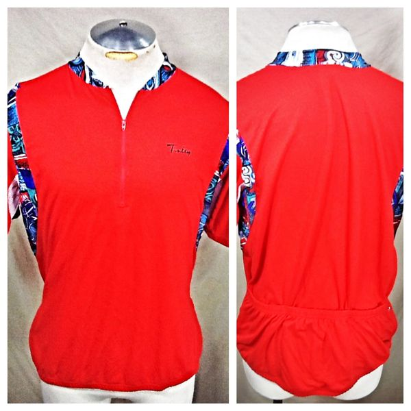 Vintage 90's Tinsley Cycling Team (L/XL) Retro 1/2 Zip Up Graphic Biking Jersey Red