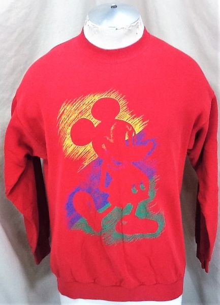 "Vintage 90's Disney's Mickey Mouse ""Outline"" (Large) Retro Cartoon Graphic Sweatshirt"