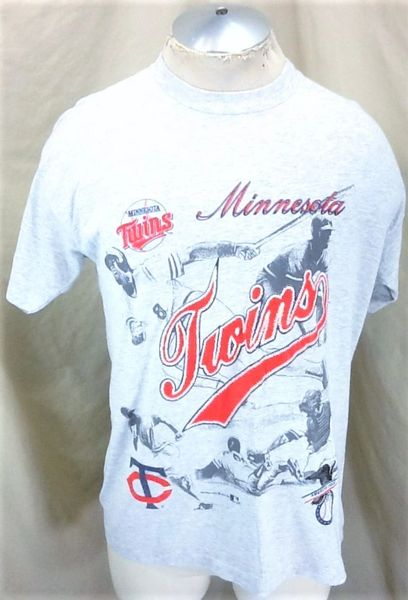 """Vintage 1991 Minnesota Twins Baseball Club (Large) Retro MLB """"Making Plays"""" Graphic T-Shirt"""