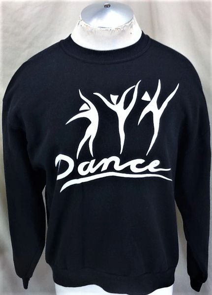 Vintage 90's Classic Dance Ballet (Large) Retro Graphic Crew Neck Sweatshirt Black