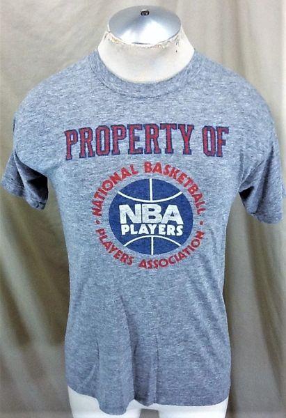 Vintage 1980's NBA Basketball Players Association (Large) Retro Rayon Graphic T-Shirt