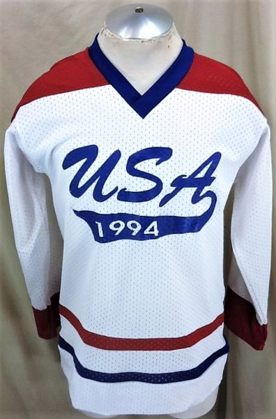Vintage 1994 Olympics Team USA Hockey (Small) Retro Knit Pullover Graphic Jersey