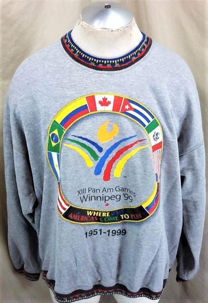 Vintage 1999 Pan AM Games Winnipeg XIII (2XL) Retro Graphic Crew Neck Sweatshirt