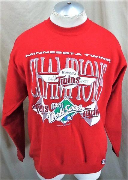 "Vintage 1991 Minnesota Twins ""World Series Champs"" (Large) Retro MLB Baseball Crew Neck Sweatshirt"