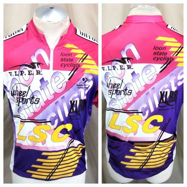 "Vintage Wheel Sports ""Loon State Cyclists"" (Med/Large) Retro All Over Graphic 1/4 Zip Up Cycling Jersey"