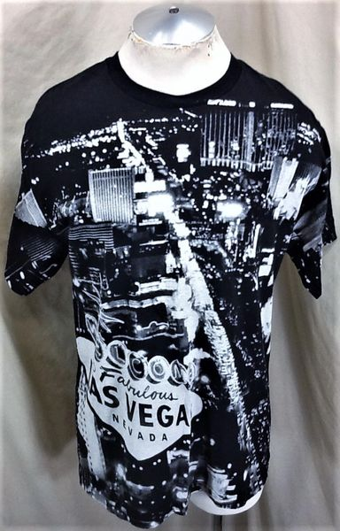"""Vintage 90's Las Vegas Tourism (Large) """"The Strip"""" All Over Graphic Gambling T-Shirt"""