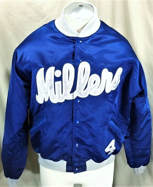 Vintage Minneapolis Millers #4 Baseball (46/Large) Retro Stitched Throwback Snap Up Satin Players Jacket