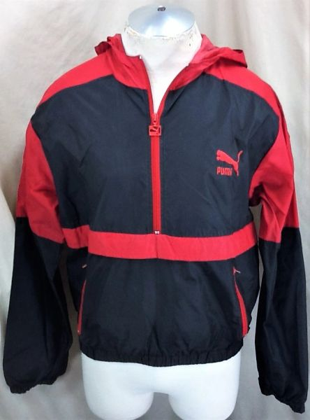 Vintage 90's Puma Active Wear (Small) Retro Pullover Hooded Windbreaker Jacket