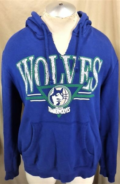 Mitchell & Ness Minnesota Timberwolves (Large) Retro Wolves NBA Basketball Hooded Sweatshirt