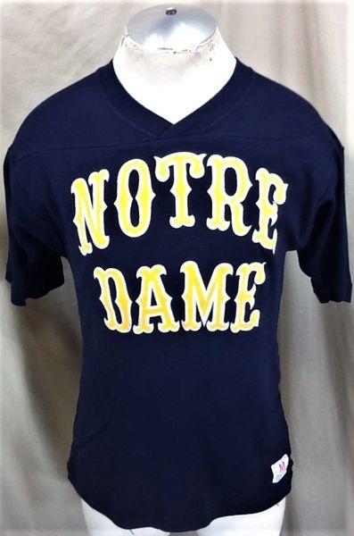 Vintage 90's Champion Notre Dame Fighting Irish (Med) Retro NCAA Knit Graphic Navy Blue T-Shirt