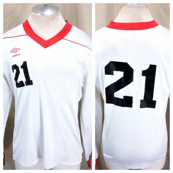 Vintage 90's Umbro Futbol Team #21 (Med/Large) Retro Pullover Graphic Soccer Jersey