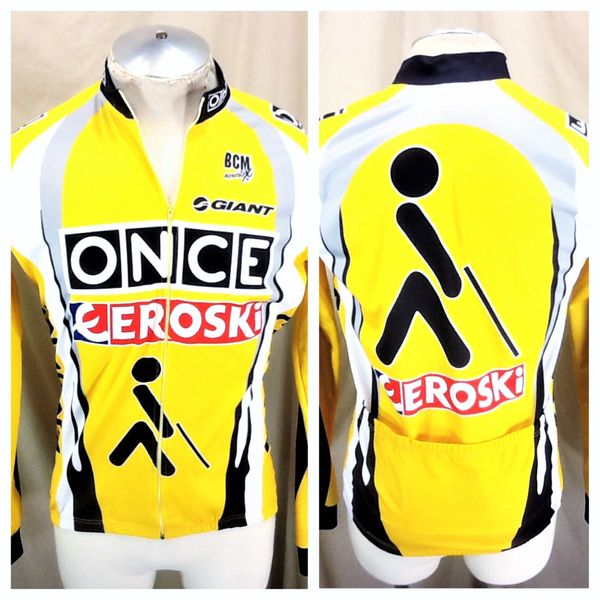 Once Eroski Cycling Team Tour De France (5/Large) Retro Long Sleeve Full Zip Up Thermal Jersey