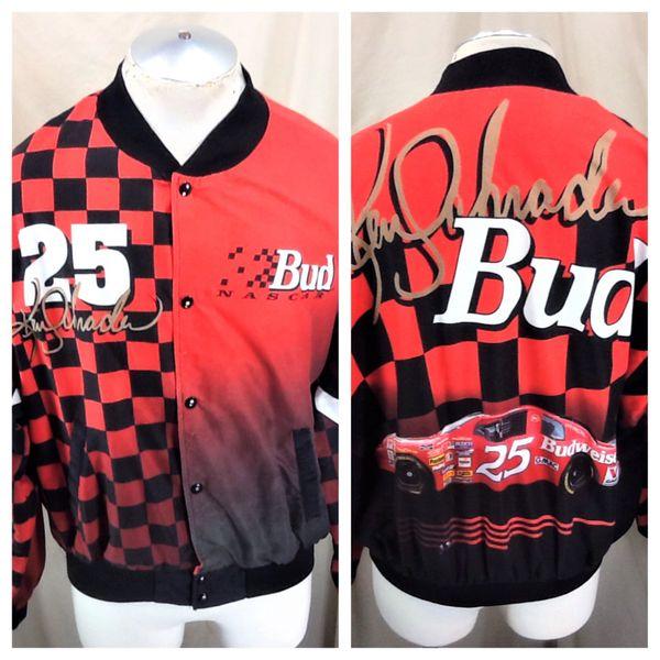 Vintage 90's Budweiser Racing Ken Schrader #25 (XL) Retro Snap Up NASCAR Jacket