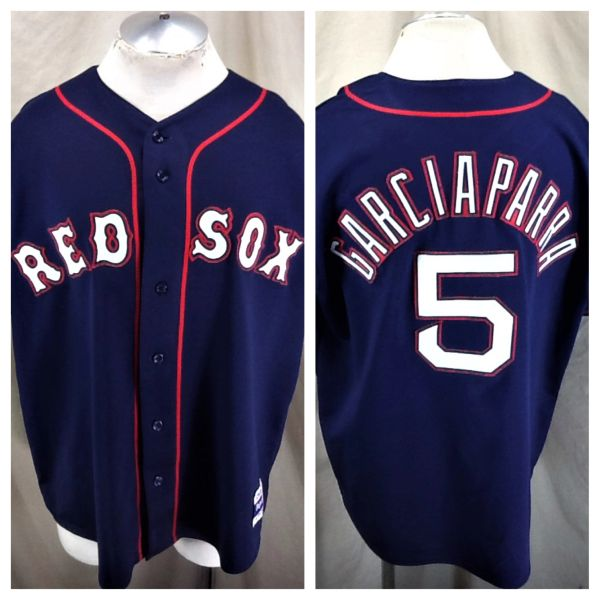 Vintage 90's Majestic Boston Red Sox (XL/2XL) Retro Nomar Garciaparra #5 MLB Baseball Stitched Jersey