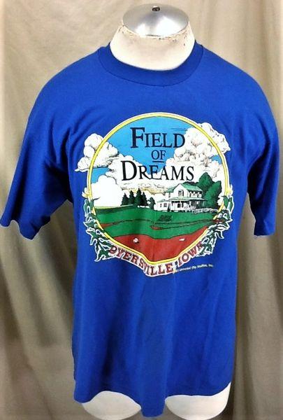 "Vintage 1991 Field of Dreams ""Dyersville, Iowa"" (L/XL) Retro Classic Baseball Movie Graphic T-Shirt"
