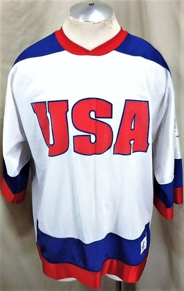Vintage 90's Logo Athletic Team USA Olympics (Large) Retro Graphic White Hockey Jersey