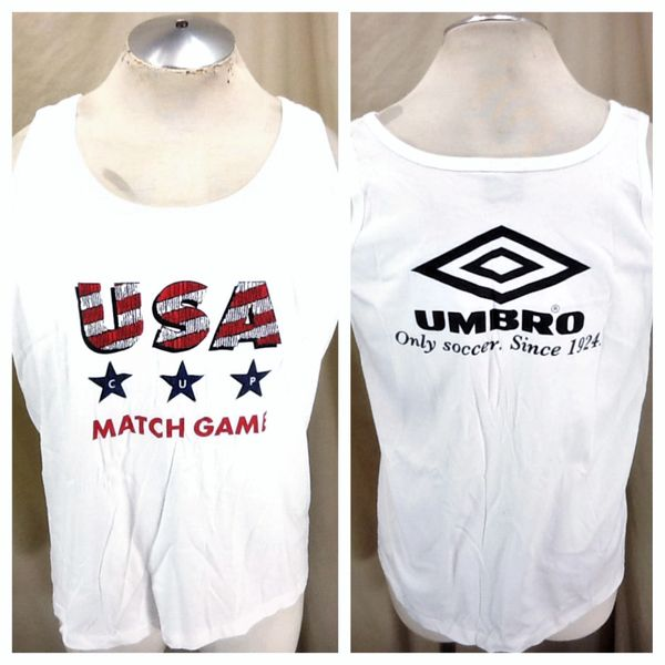 """Vintage 90's Umbro Team USA World Cup (Large) Retro """"Match Game"""" Graphic White Tank Top"""