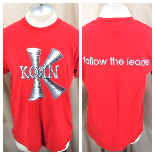 """Vintage 90's Giant Korn """"Follow The Leader"""" (Large) Retro Graphic Concert Band Shirt"""