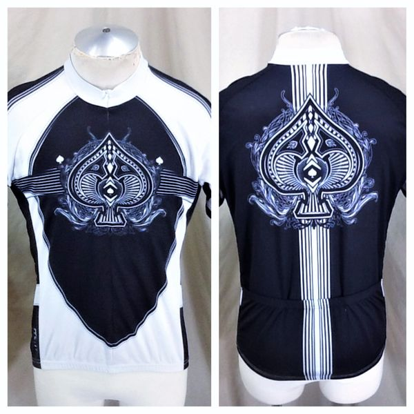 "Primal Wear Cycling Team ""Ace of Spades"" (Large) Retro 3/4 Graphic Bike Jersey Black"