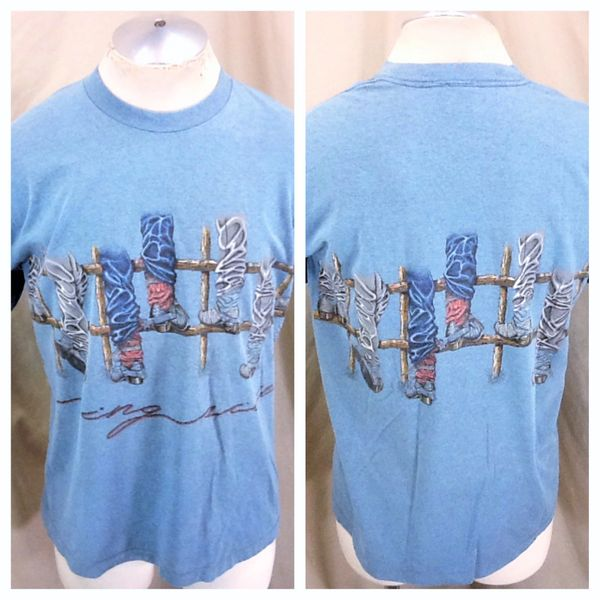 "Vintage 90's Western Wear ""Ring Side"" (Large) Retro Cowboy Boots Graphic T-Shirt"