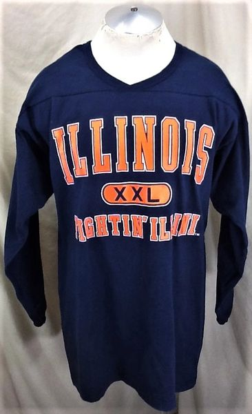 Vintage 90's University of Illinois (XL Long) Retro NCAA Fightin' Illini Knit Graphic Shirt