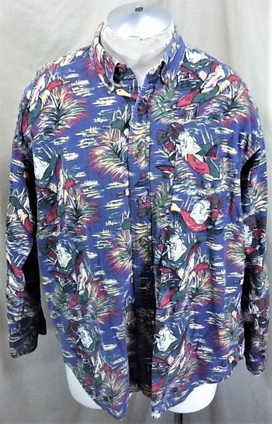 """Vintage Dockers Sportsman """"Flying Ducks"""" (Large) Button Up All Over Graphic Hunting Shirt"""