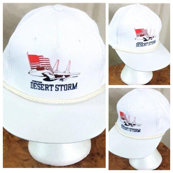 """Vintage 1991 New Era Desert Storm """"F-15 Eagle"""" Armed Forces Graphic Snap Back Hat"""