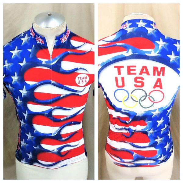 "Team USA Cycling ""Stars & Stripes"" (Small) Retro 3/4 Zip Up Olympic Biking Blue Jersey"