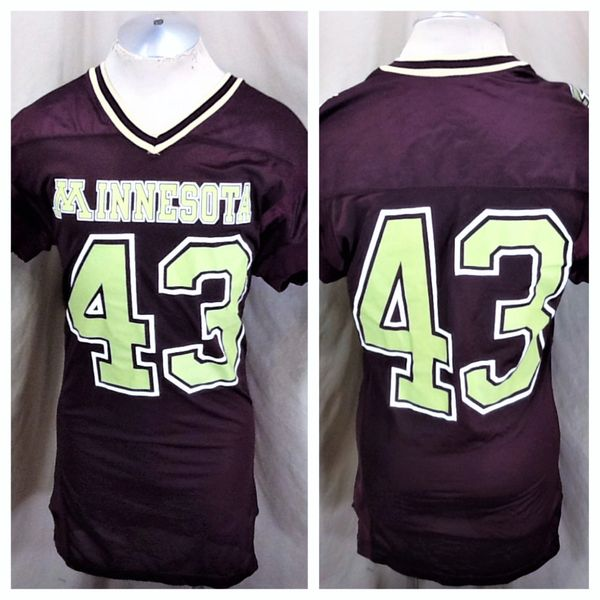 Vintage 80's Champion Minnesota Gophers #43 (Med-Long) Retro NCAA Graphic Football Jersey